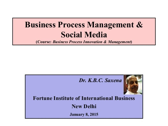 Business Process Management & Social Media (Course: Business Process Innovation & Management) Dr. K.B.C. Saxena Fortune In...