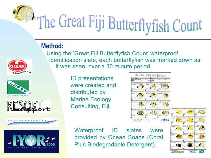 Method:   Using the 'Great Fiji Butterflyfish Count' waterproof   identification slate, each butterflyfish was marked down...
