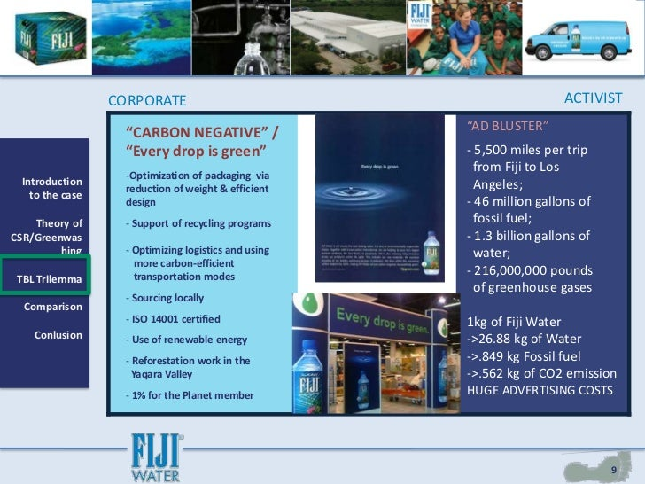 fiji water csr case study Fiji water & csr case study questions -- 1 ethically as a society we must make sure that marketing is done without falsities and lies the number one.