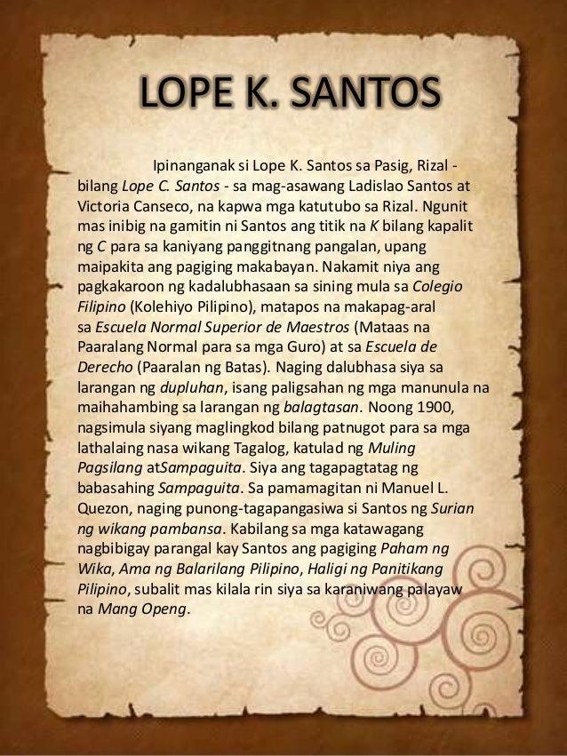 mga tula ni lope k santos On september 25, 1879, lope k santos was born in pasig as lope santos y canseco to ladislao santos, a native of pasig and victorina.