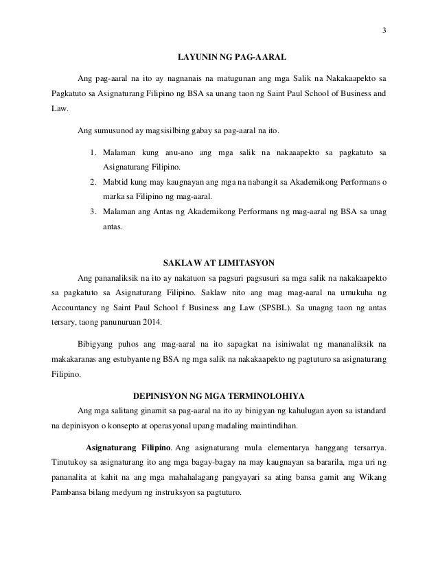 halimbawa ng thesis sa filipino 2 tungkol sa negosyo