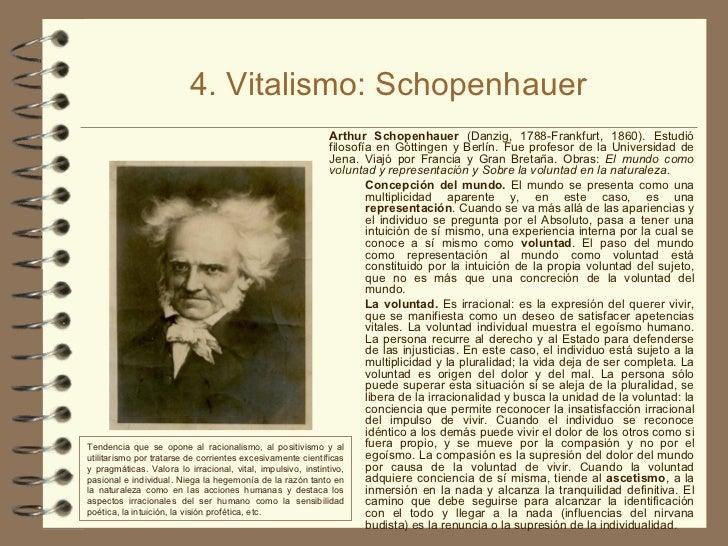4. Vitalismo: Schopenhauer <ul><li>Arthur Schopenhauer  (Danzig, 1788-Frankfurt, 1860). Estudió filosofía en Góttingen y B...