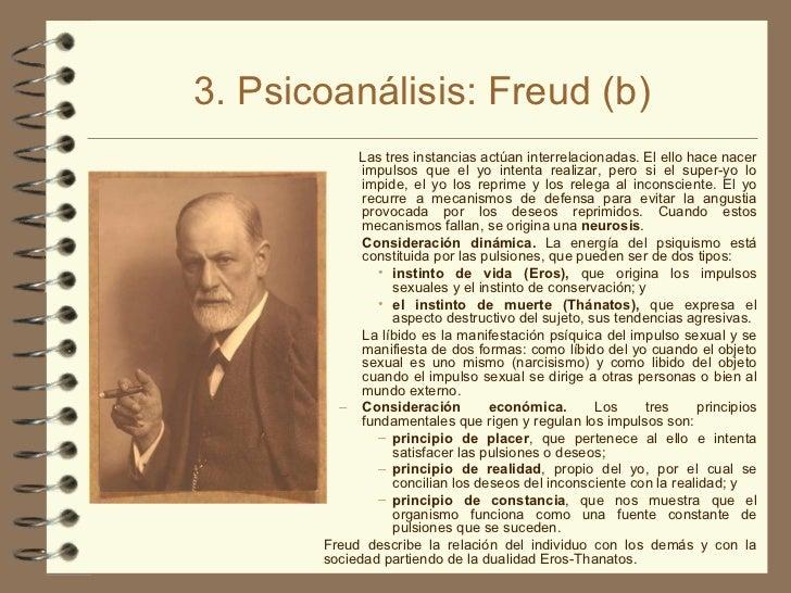 3. Psicoanálisis: Freud (b) <ul><ul><li>Las tres instancias actúan interrelacionadas. El ello hace nacer impulsos que el y...