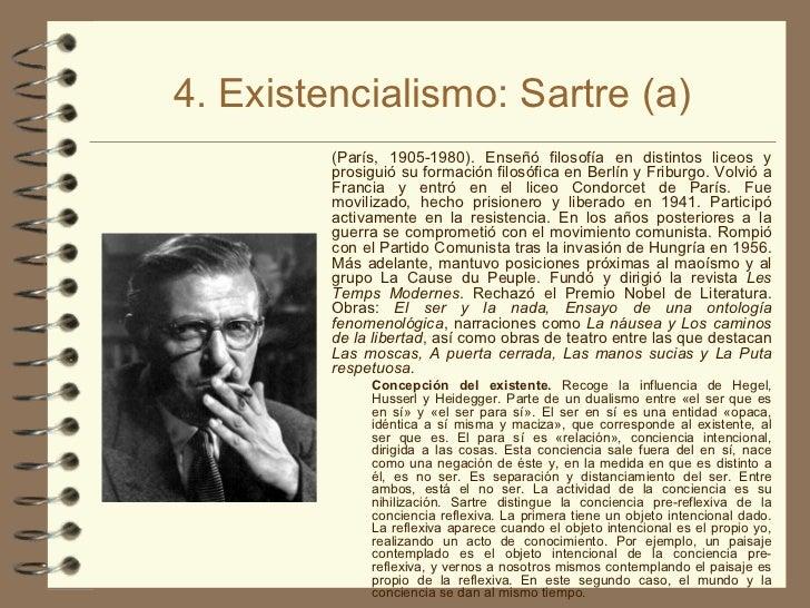 4. Existencialismo: Sartre (a) <ul><li>(París, 1905-1980). Enseñó filosofía en distintos liceos y prosiguió su formación f...