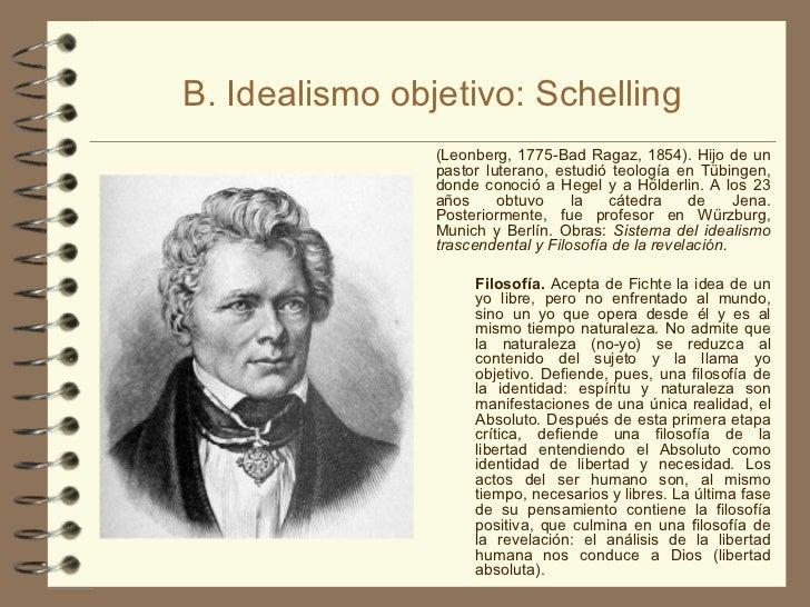 B. Idealismo objetivo: Schelling <ul><li>(Leonberg, 1775-Bad Ragaz, 1854). Hijo de un pastor luterano, estudió teología en...