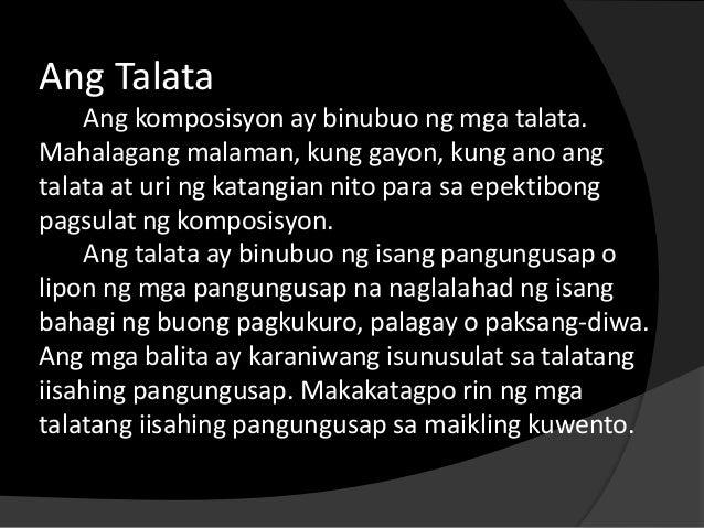 uri ng talata Ang talata naman ay binubuo ng lipon ng mga pangungusap na  may iba't  ibang uri ng talata ayon sa kinalalagyan sa komposiyon ito ay ang.