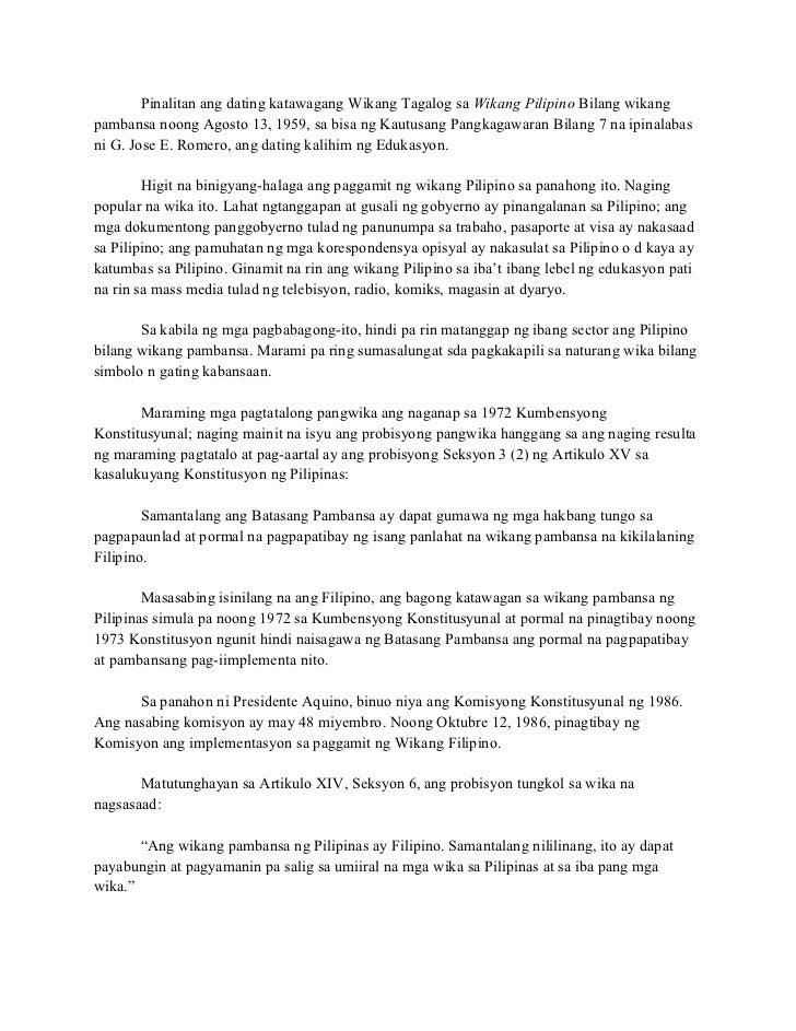 pinalitan ng filipino ang dating pilipino dahil Mahalaga ang pag-aaral na ito dahil nais ng mga isa sa bawat sampung pamilyang filipino ang nagiging biktima ng halimbawa na rito ay ang dating.