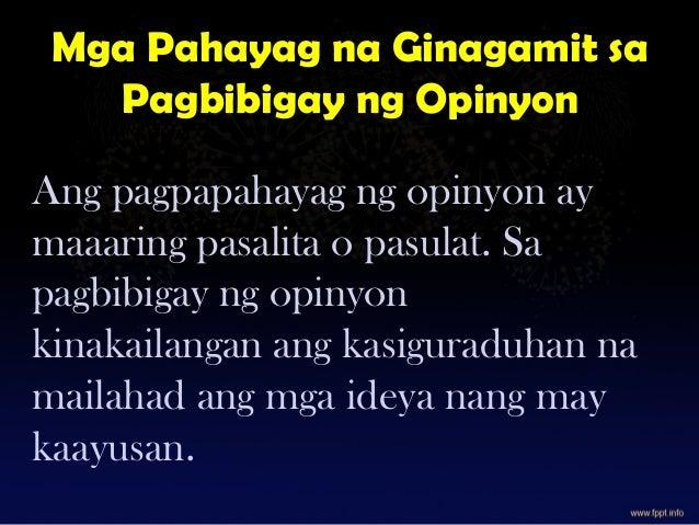 Gamit ng pang-ugnay sa pagpapahayag ng opinyon FIL-9 Slide 2