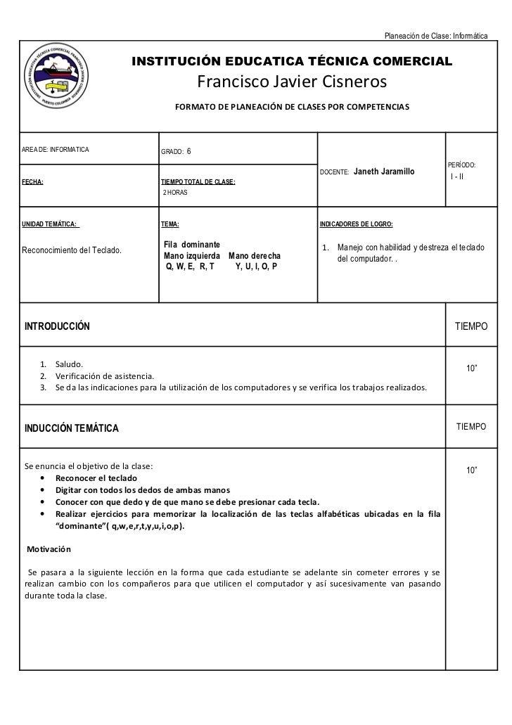 Planeación de Clase: Informática                              INSTITUCIÓN EDUCATICA TÉCNICA COMERCIAL                     ...