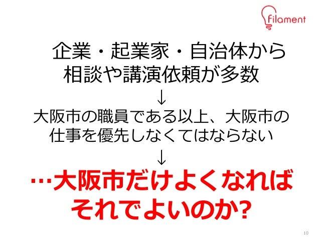 10 企業・起業家・自治体から 相談や講演依頼が多数 ↓ 大阪市の職員である以上、大阪市の 仕事を優先しなくてはならない ↓ …大阪市だけよくなれば それでよいのか?