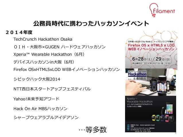 8 TechCrunch Hackathon Osaka OIH・大阪市×GUGEN ハードウェアハッカソン Xperia™ Wearable Hackathon(6月) デバイスハッカソンin大阪(6月) Firefox OSxHTML5xL...
