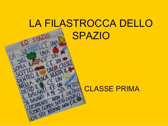 LA FILASTROCCA DELLO SPAZIO CLASSE PRIMA