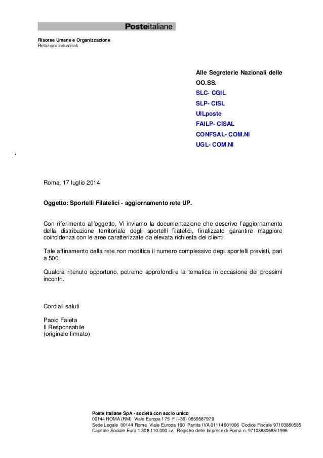 Risorse Umane e Organizzazione Relazioni Industriali Poste Italiane SpA - società con socio unico 00144 ROMA (RM) Viale Eu...