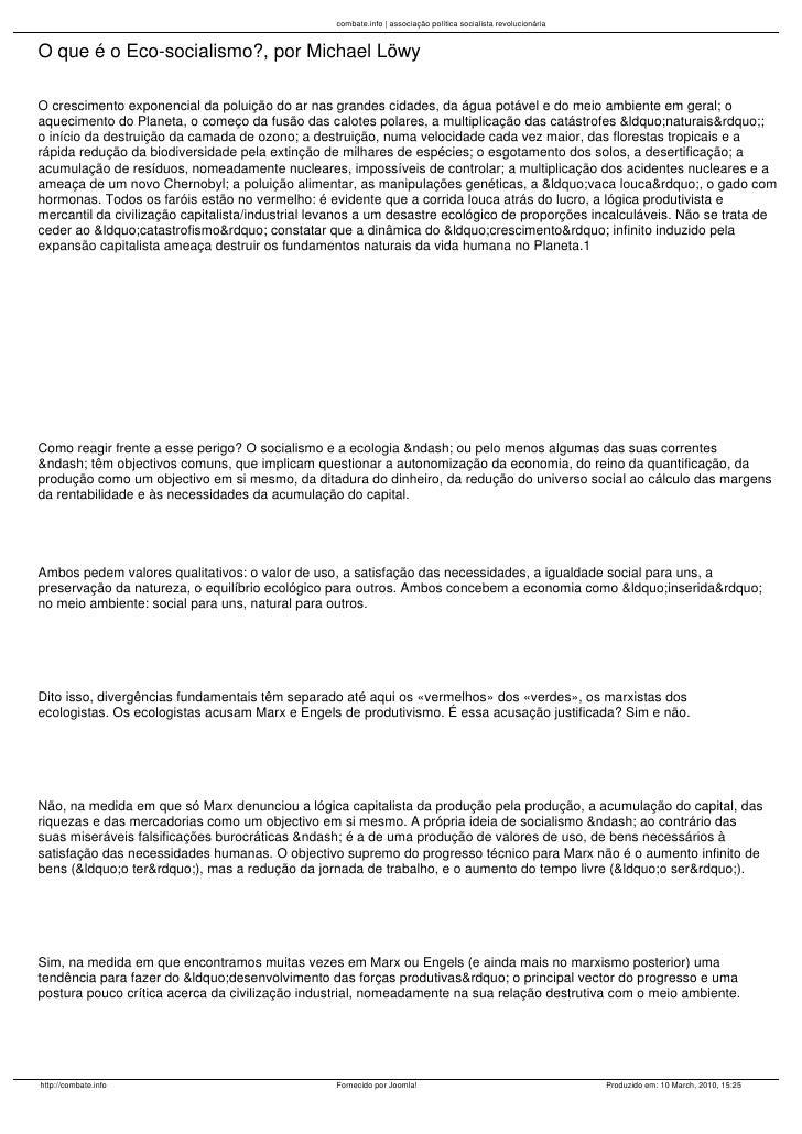 combate.info | associação política socialista revolucionária   O que é o Eco-socialismo?, por Michael Löwy  O crescimento ...