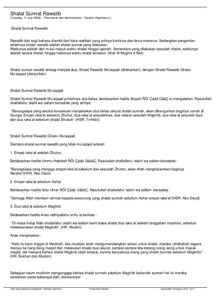 Shalat Sunnat Rawatib(Tuesday, 11 July 2006) - Peranserta dari Administrator - Terakhir Diperbarui ()Shalat Sunnat Rawatib...