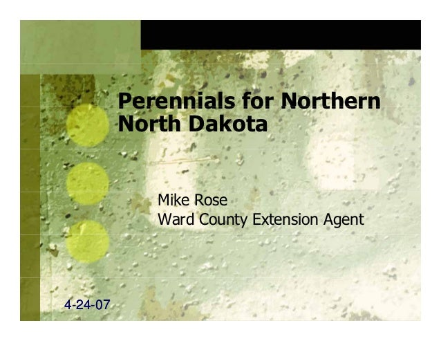 Perennials for Northern          North Dakota             Mike Rose             Ward County Extension Agent4-24-07  24-