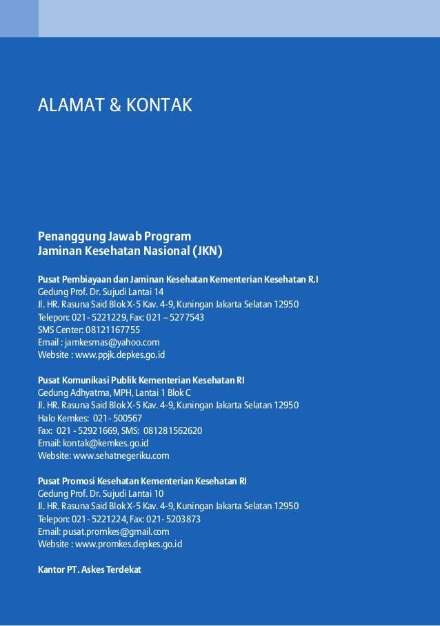ALAMAT & KONTAK  Penanggung Jawab Program Jaminan Kesehatan Nasional (JKN) Pusat Pembiayaan dan Jaminan Kesehatan Kementer...