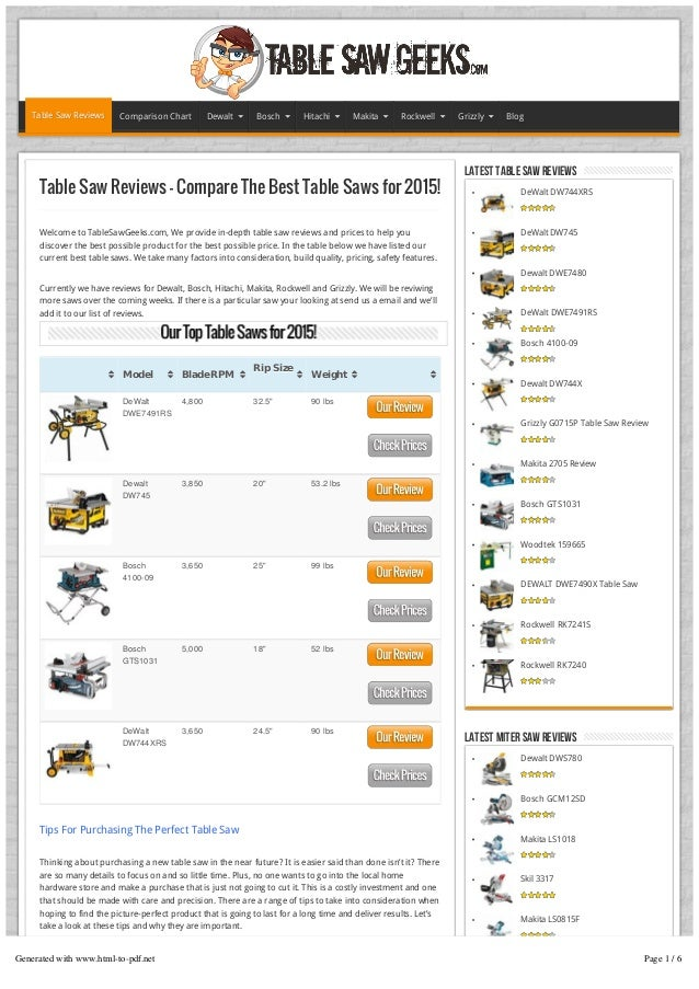 Marvelous Table Saw Reviews Compare The Best Table Saws 2015 Home Interior And Landscaping Ologienasavecom