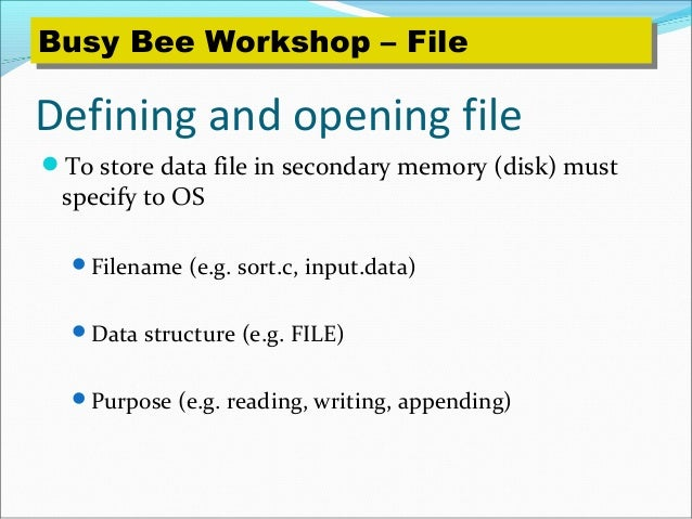 programming language and file File i/o c programming file examples read name and marks of students and store it in file: read name and marks of students and store it in file if file already exists, add information to it write members of arrays to a file using fwrite() 1 write a c program to read name and marks of n number of students from user and store them in a file.