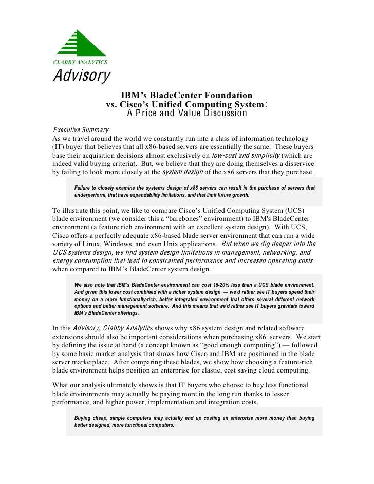 Advisory                          IBM'sBladeCenterFoundation                      vs.Cisco'sUnifiedComputingSystem:...