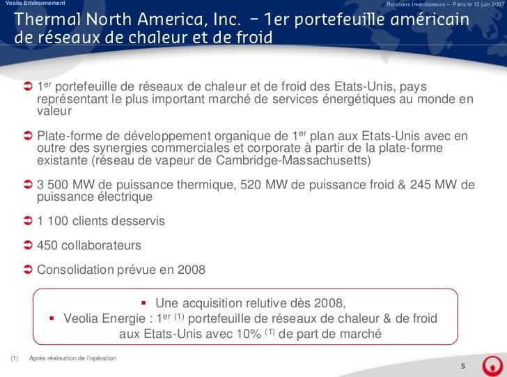 Acquisition de Thermal North America, Inc. : Le premier