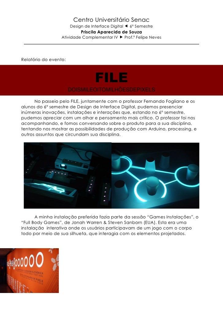Centro Universitário Senac                       Design de Interface Digital     6º Semestre                            Pr...