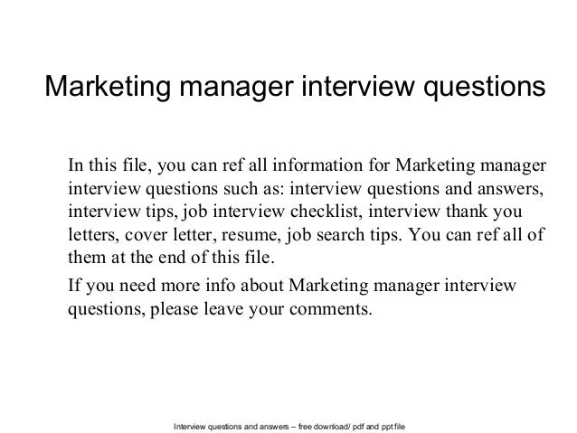 interview questions and answers free download pdf and ppt file marketing manager interview questions - Marketing Manager Interview Questions And Answers