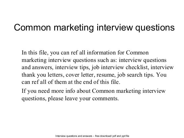 Delightful Interview Questions And Answers U2013 Free Download/ Pdf And Ppt File Common  Marketing Interview Questions ...
