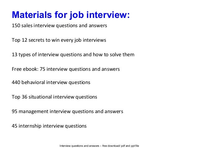 sample answers for interview questions | Template