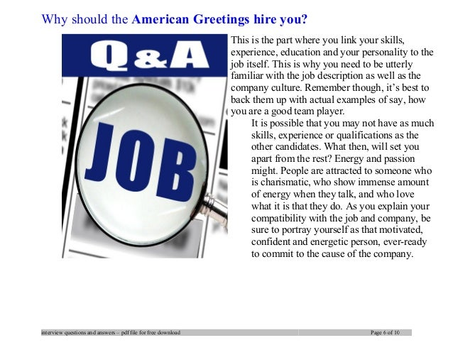 American greetings interview questions and answers 6 why should the american greetings m4hsunfo