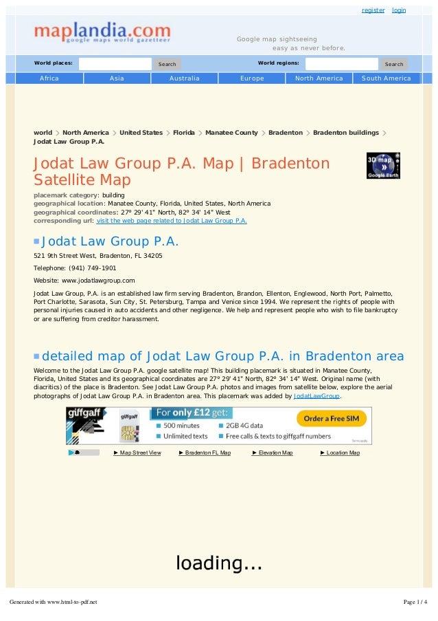 Bradenton Florida Map.Jodat Law Group P A Map Bradenton Satellite Map