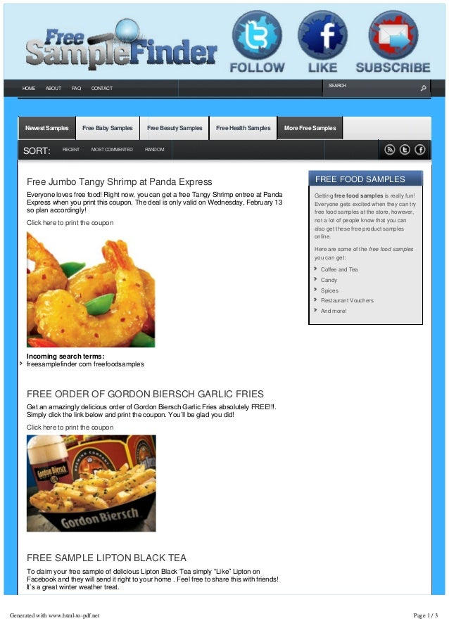 Free sample finder gives you free food samples by mail.