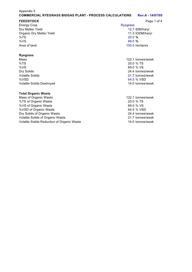 Appendix 5COMMERCIAL RYEGRASS BIOGAS PLANT - PROCESS CALCULATIONS      Rev.A - 14/07/05FEEDSTOCK                          ...
