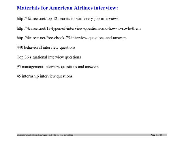 9 materials for american airlines