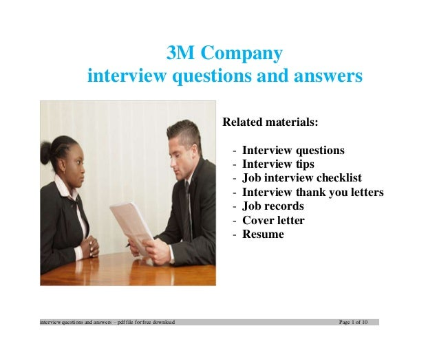 interview questions and answers – pdf file for free download Page 1 of 10 3M Company interview questions and answers Relat...