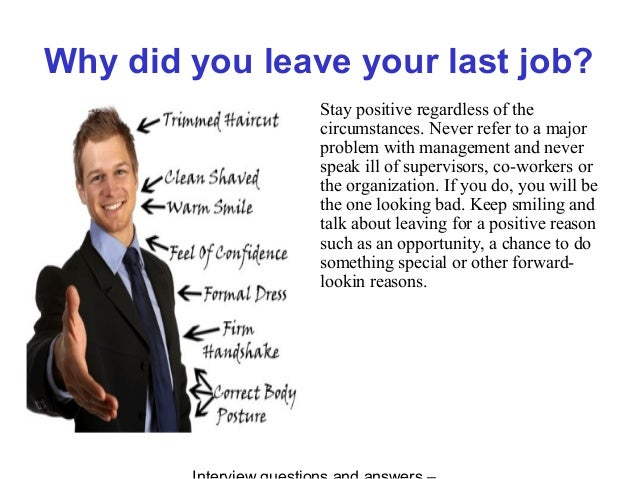 Reason For Leaving Last Job. Marshall Arts Interview Questions ...