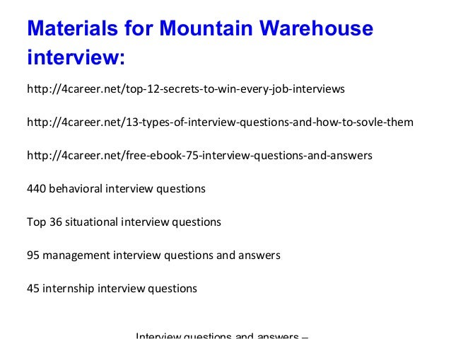 warehouse interview questions