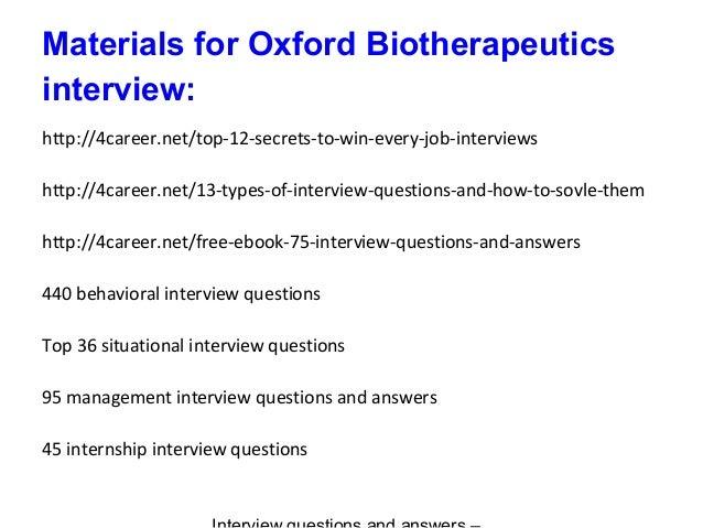 9. Materials For Oxford Biotherapeutics Interview: ...