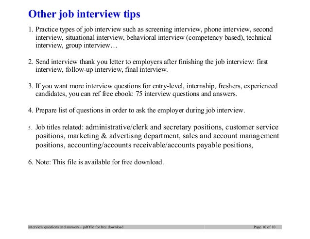 Other Job Interview Tips .
