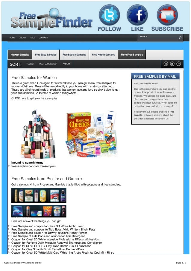 Free Sample Finder Presents the Latest Free Samples by Mail