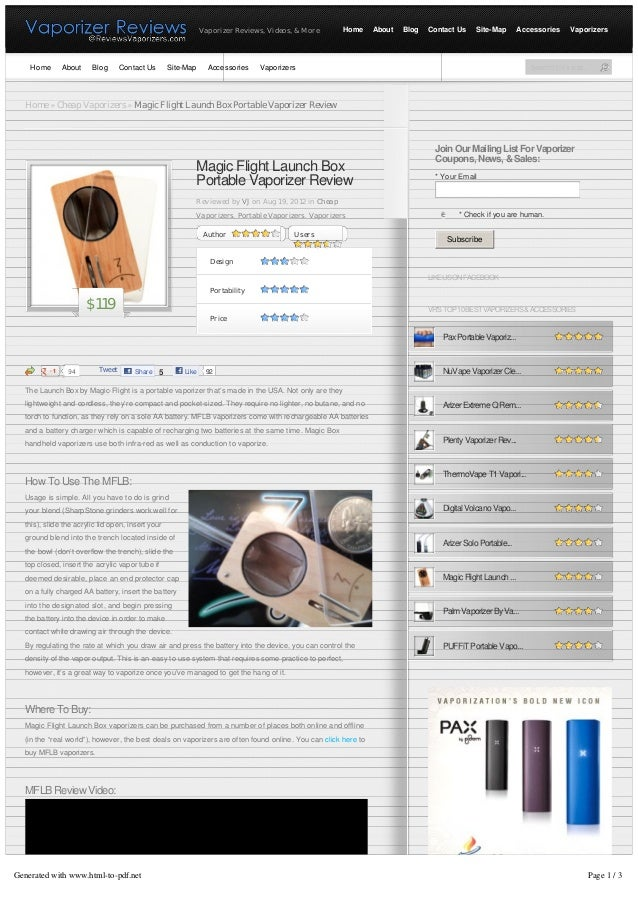 Vaporizer Reviews, Videos, & More      Home      About   Blog   Contact Us    Site-Map        Accessories    Vaporizers   ...