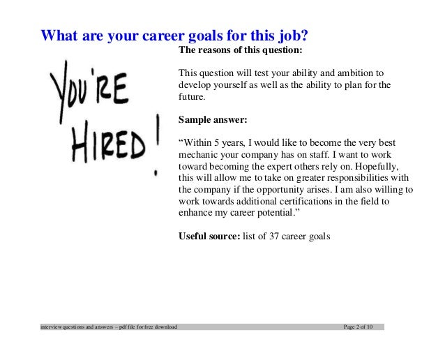 career goals sample answers hola klonec co