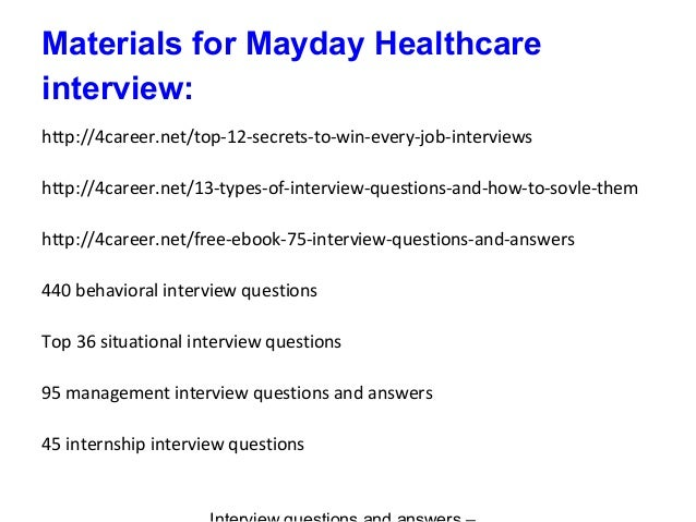 9 materials for mayday healthcare interview - Nhs Interview Questions Healthcare Interview Questions And Answers