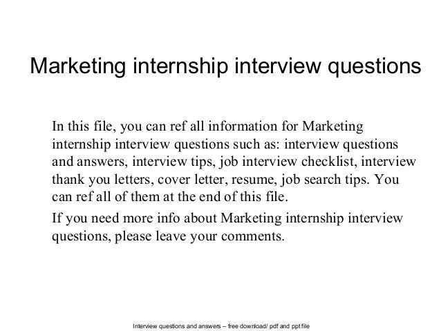 Superb Interview Questions And Answers U2013 Free Download/ Pdf And Ppt File Marketing  Internship Interview Questions ... Within Resume Questions