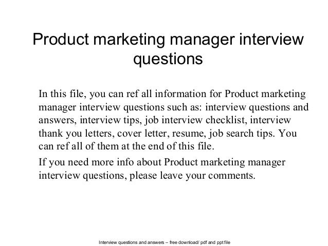 Product marketing manager interview questions