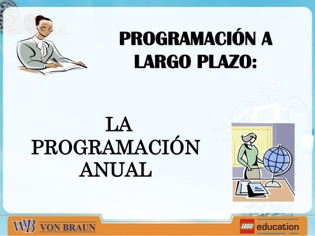 PROGRAMACIÓN A LARGO PLAZO: LA PROGRAMACIÓN ANUAL