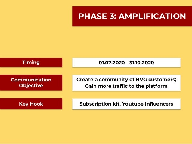 PHASE 3: AMPLIFICATION Timing Communication Objective Key Hook 01.07.2020 - 31.10.2020 Create a community of HVG customers...