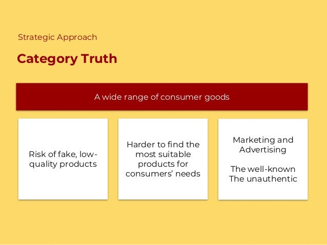 Category Truth A wide range of consumer goods Risk of fake, low- quality products Marketing and Advertising The well-known...