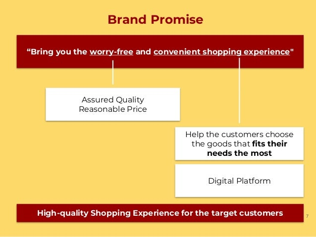 """Brand Promise 7 """"Bring you the worry-free and convenient shopping experience"""" Assured Quality Reasonable Price Help the cu..."""