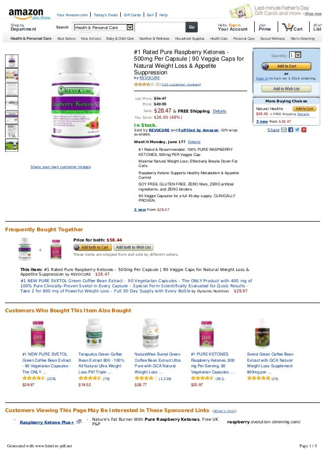 #1 Rated Pure Raspberry Ketones -500mg Per Capsule | 90 Veggie Caps forNatural Weight Loss & AppetiteSuppressionbyREVOCUR...